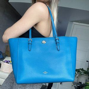 COACH Large City Tote in Blue Saffiano Leather